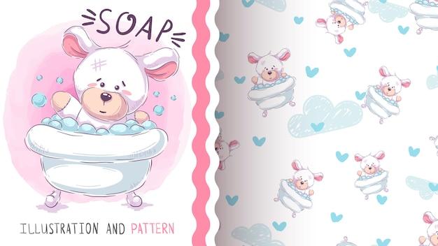 Urso bonito lavagem - padrão sem emenda