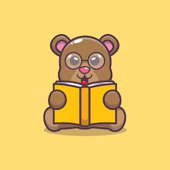 Urso bonito lendo um livro ilustração vetorial de desenho animado