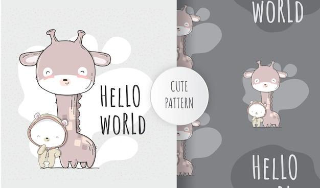 Urso bonito liso sem costura padrão com girafa bebê