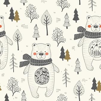 Urso bonito mão desenhada floresta sem costura padrão.