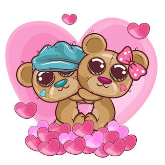 Urso bonito menina e menino com corações - ilustração