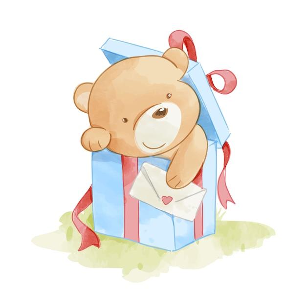 Urso bonito na ilustração de caixa presente