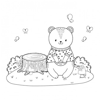 Urso bonito no personagem da floresta de campo