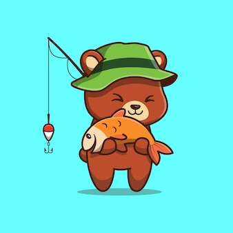 Urso bonito pesca icon ilustração. conceito de ícone animal isolado. estilo cartoon plana