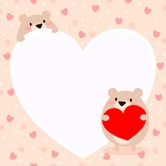 Urso bonito segurar um fundo de coração.