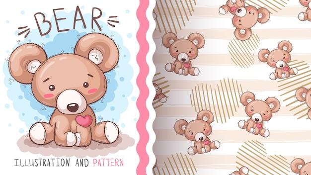 Urso bonito teddu - padrão sem emenda