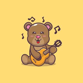Urso bonito tocando guitarra ilustração vetorial de desenho animado