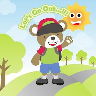 Urso bonito vai lá fora, usa um boné