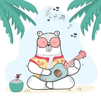 Urso branco fofo doodle em camisa de verão toca guitarra