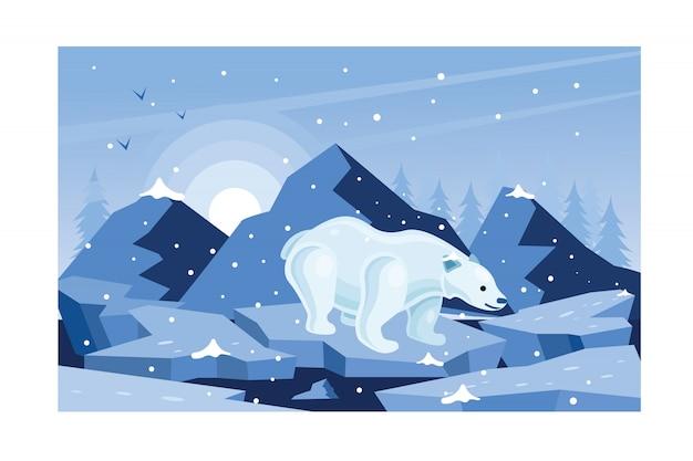Urso branco inverno na ilustração de gelo