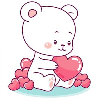 Urso-branco pequeno adorável, cercado por corações cor-de-rosa inchado