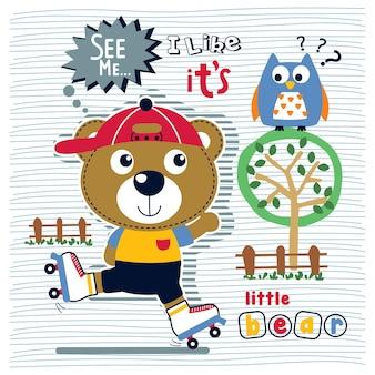 Urso brincar de patim engraçado animal desenho animado