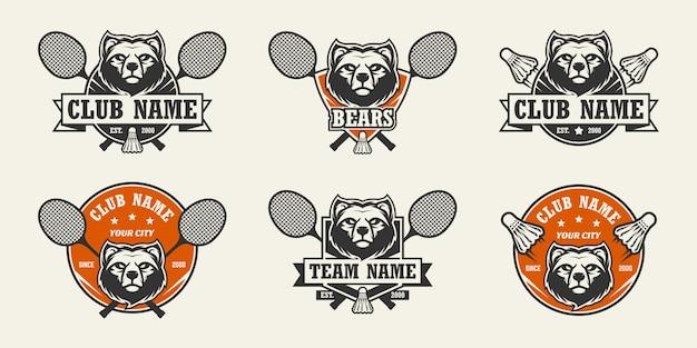 Urso cabeça esporte logotipo. conjunto de logotipos de badminton.