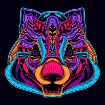 Urso cabeça néon estilo brilho no escuro