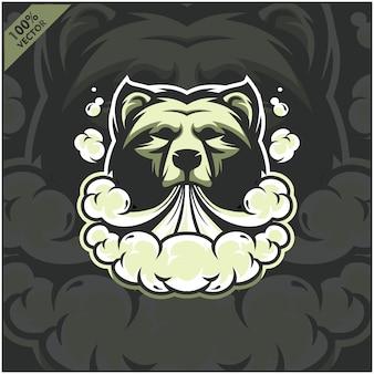 Urso cabeça vapor e-cigarro, vape, cigarro vaporizador, fumaça eletrônica