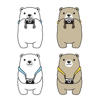 Urso câmera polar fotógrafo desenho animado