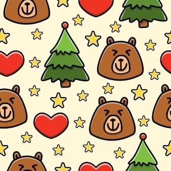 Urso cartoon doodle padrão sem emenda