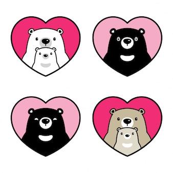 Urso cartoon personagem polar ursinho coração valentim