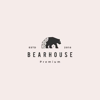 Urso casa logotipo hipster retro vintage