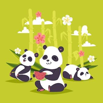 Urso chinês panda bearcat com bambu tocando ou dormindo ilustração pano de fundo