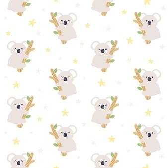 Urso coala fofo e estrela padrão sem emenda