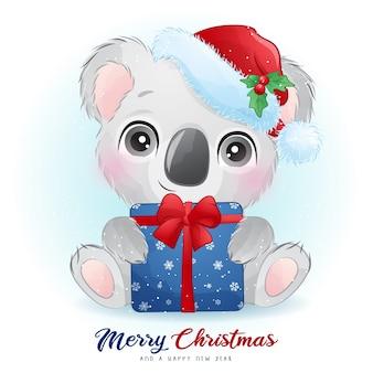 Urso coala fofo no dia de natal com ilustração em aquarela