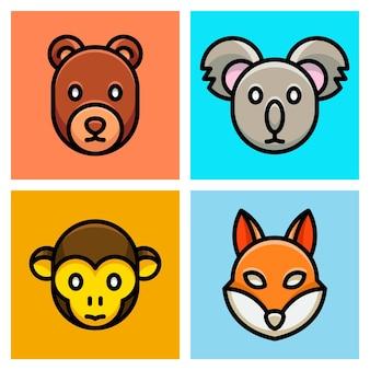 Urso, coala, macaco e raposa