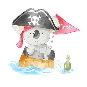 Urso coala pirata fofo em ilustração de barril