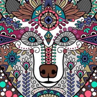 Urso colorido floral ornamental cabeça design