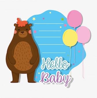 Urso com balões para cartão de chá de bebê