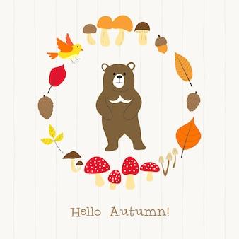 Urso com cartão de moldura de outono