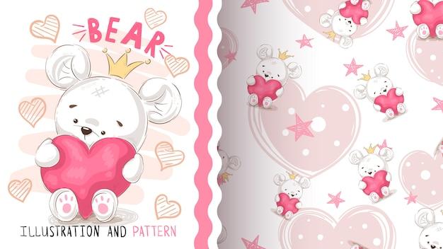 Urso com coração - padrão sem emenda