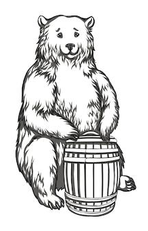 Urso com desenho em preto e branco de barril para impressão de gravura de bordado em tecido