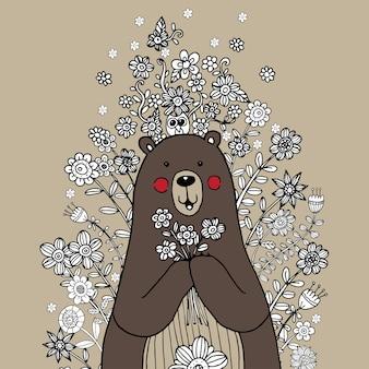 Urso com flor doodle vector