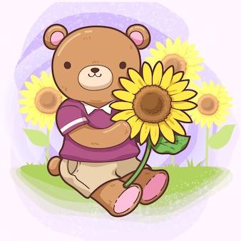 Urso com girassol