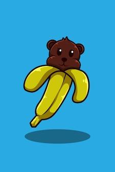 Urso com ilustração de desenho animado de banana