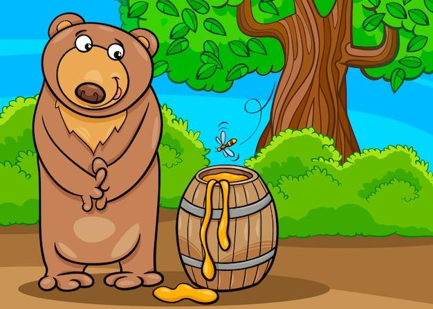 Urso com ilustração de desenhos animados de mel