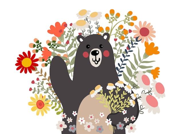 Urso com ilustração de doodle de flor