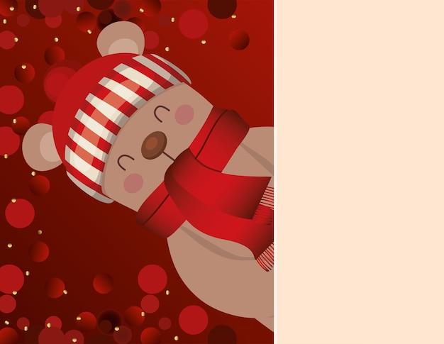 Urso com ilustração de fundo vermelho