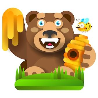 Urso com mel em ilustração vetorial de natureza