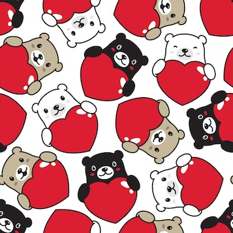 Urso com padrão sem emenda de coração