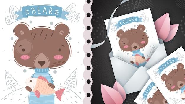 Urso com peixe - idéia para cartão de felicitações.