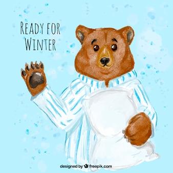 Urso com pijama e travesseiro aguarela