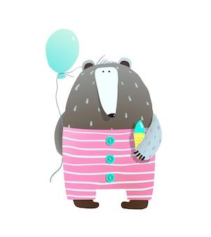 Urso com sorvete e balão