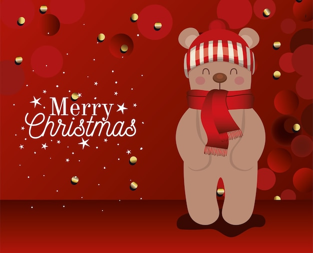 Urso com um chapéu e letras de feliz natal na ilustração de fundo vermelho