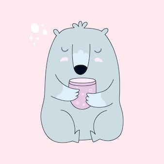 Urso com uma xícara de chá.