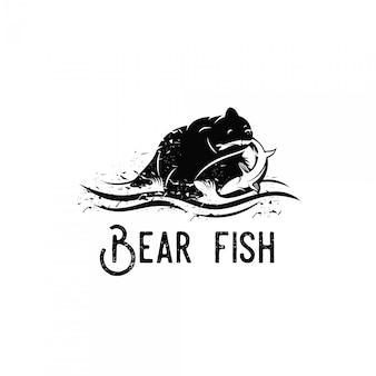 Urso comer peixe salmão logotipo