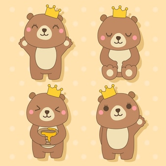 Urso - conjunto de ilustração de personagem de animais fofos kawaii