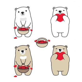 Urso, coração polar, cesta, caricatura