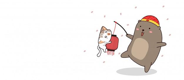Urso de bandeira está carregando lâmpada chinesa com banner de gato